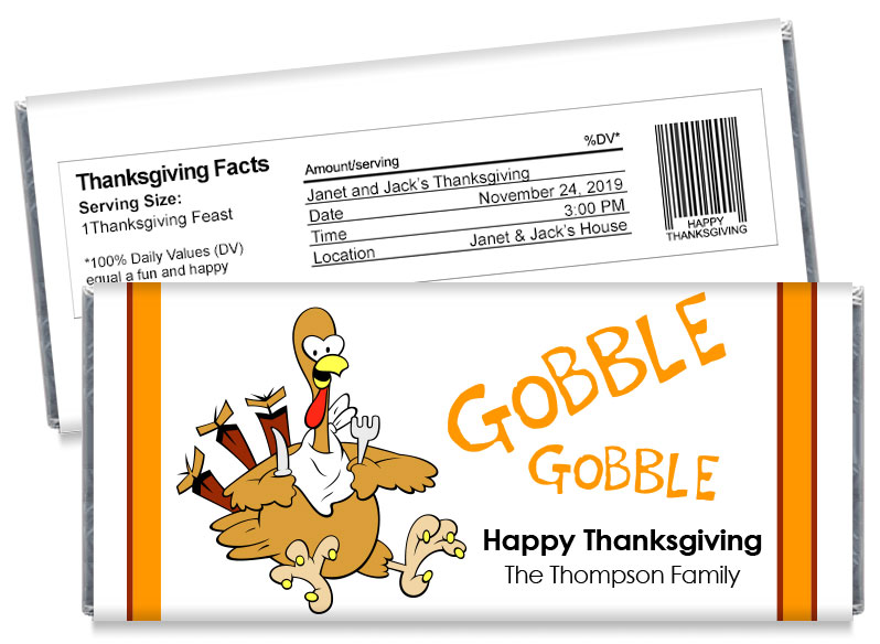 Gobble Thanksgiving Candy Bar Wrappers