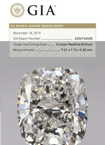 Cusion Brilliant Diamond Certified by GIA