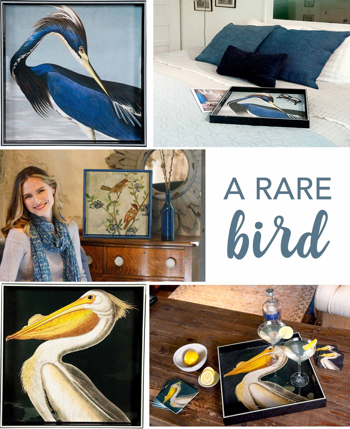 bird decor, lacquer serving trays, with white pelican and blue heron