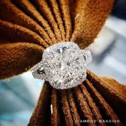 Split Halo Cushion Cut Engagement Ring