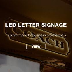 Letter Signage manufactured for Coach with back lit warm white coloring