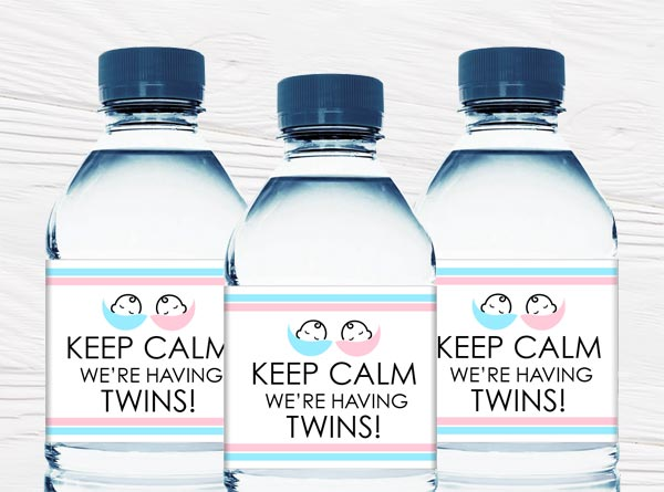 Twin and Triplet Baby Shower Water Bottle Labels