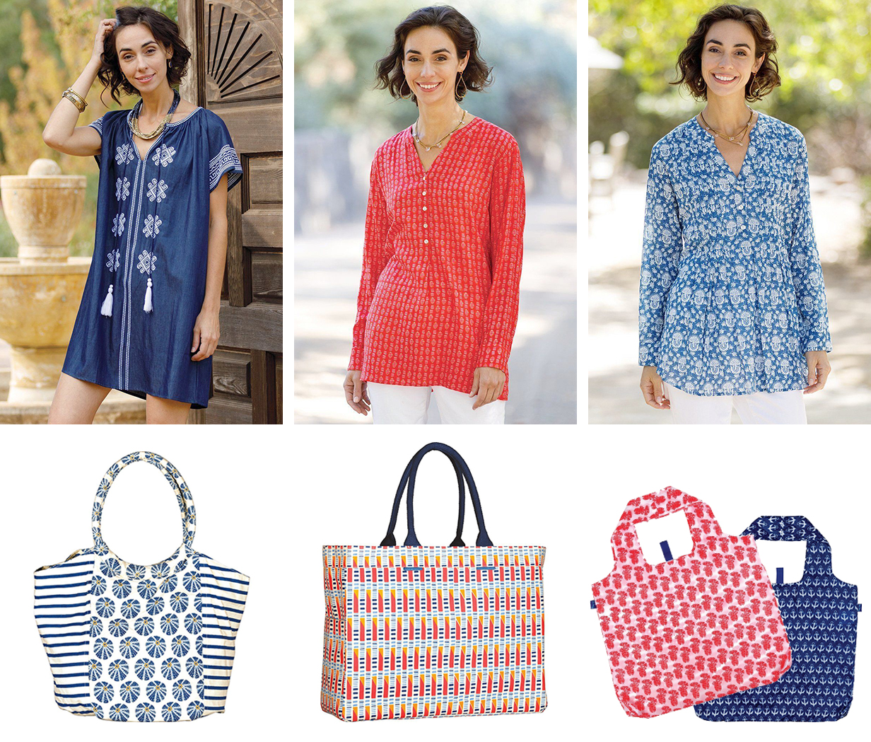 collage of casual outfits - denim dress and bucket bag, red tunic with carryall tote bag, blue pintuck tunic with reusable shopping bags