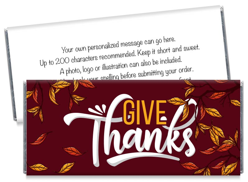 Give Thanks Thanksgiving Candy Bar Wrappers