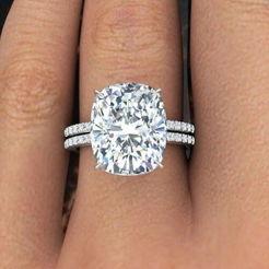 Elongated Cushion Cut Diamond Engagement Ring & Wedding Band