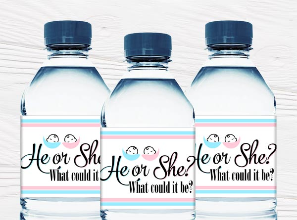 Gender Reveal Water Bottle Labels