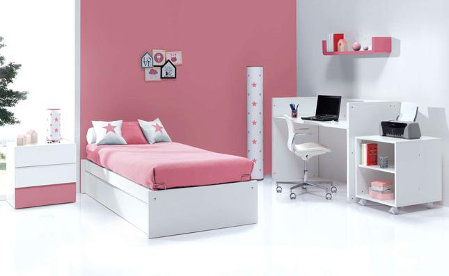 Cuna transformable 70x140cm convertida en habitación juvenil Sero Kubo Rose K551