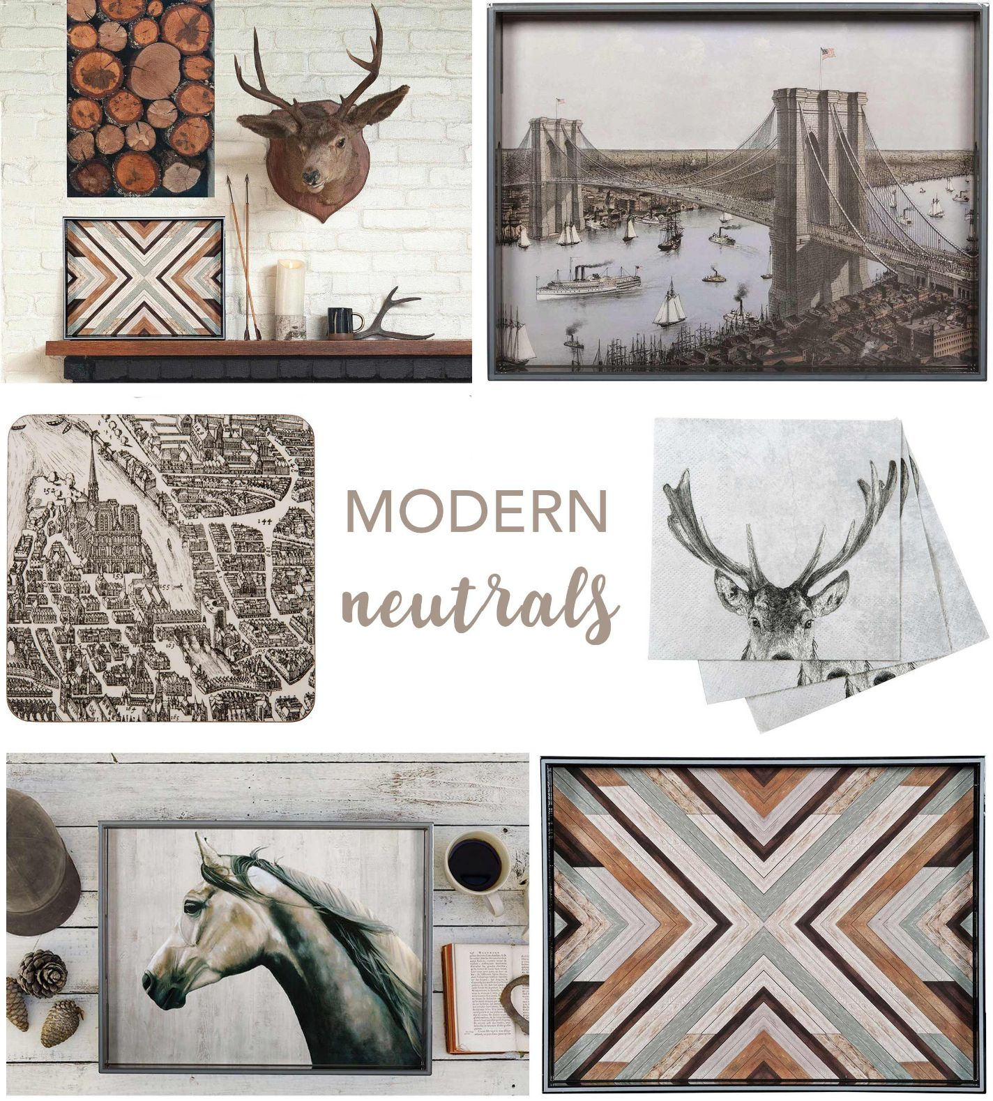 collage of neutral home decor with wood, deer, city maps