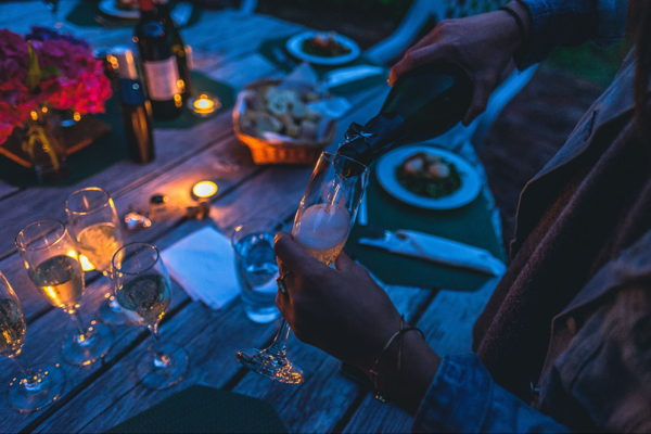 summer outdoor event prosecco
