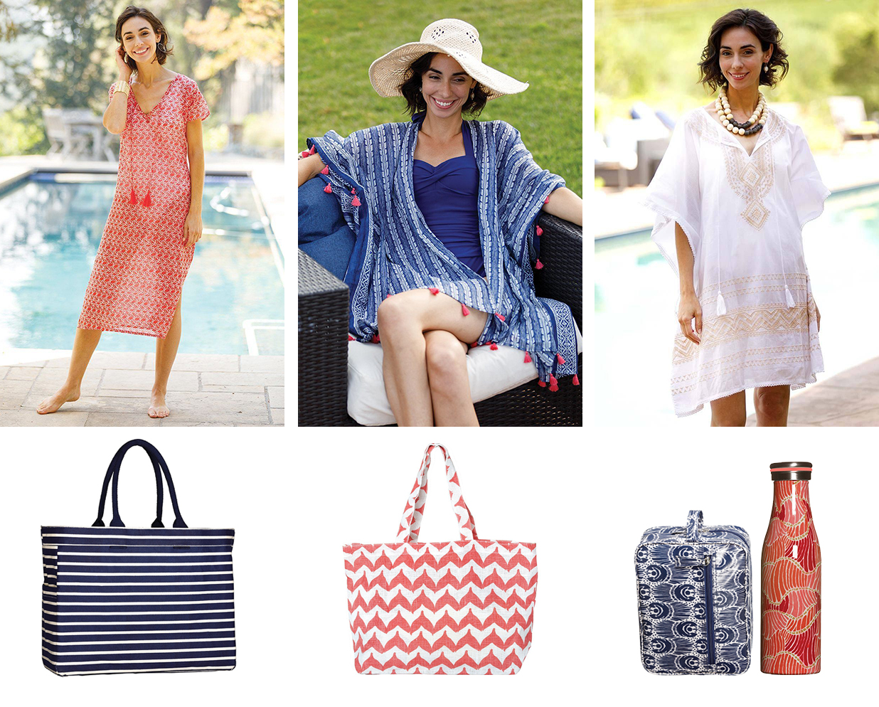 collage of casual beach outfits including red beach dress, blue beach kimono, white embroidered kaftan, and tote bags