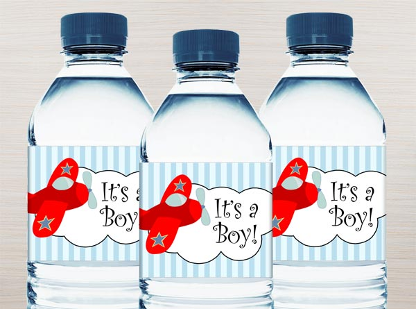 Boy Baby Shower Water Bottle Labels