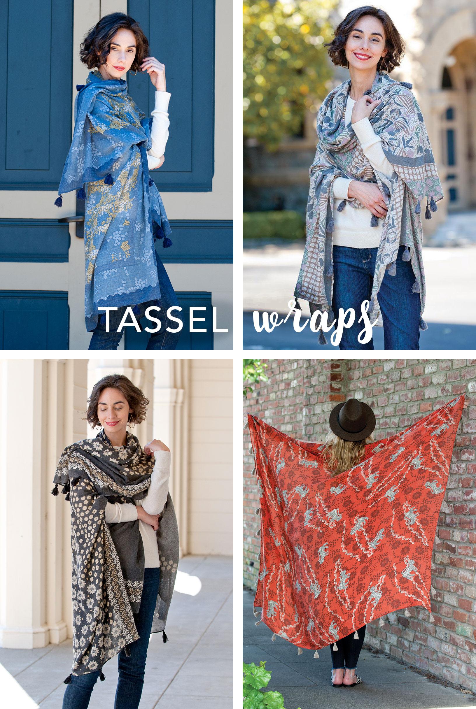 big tassel wrap scarf for women