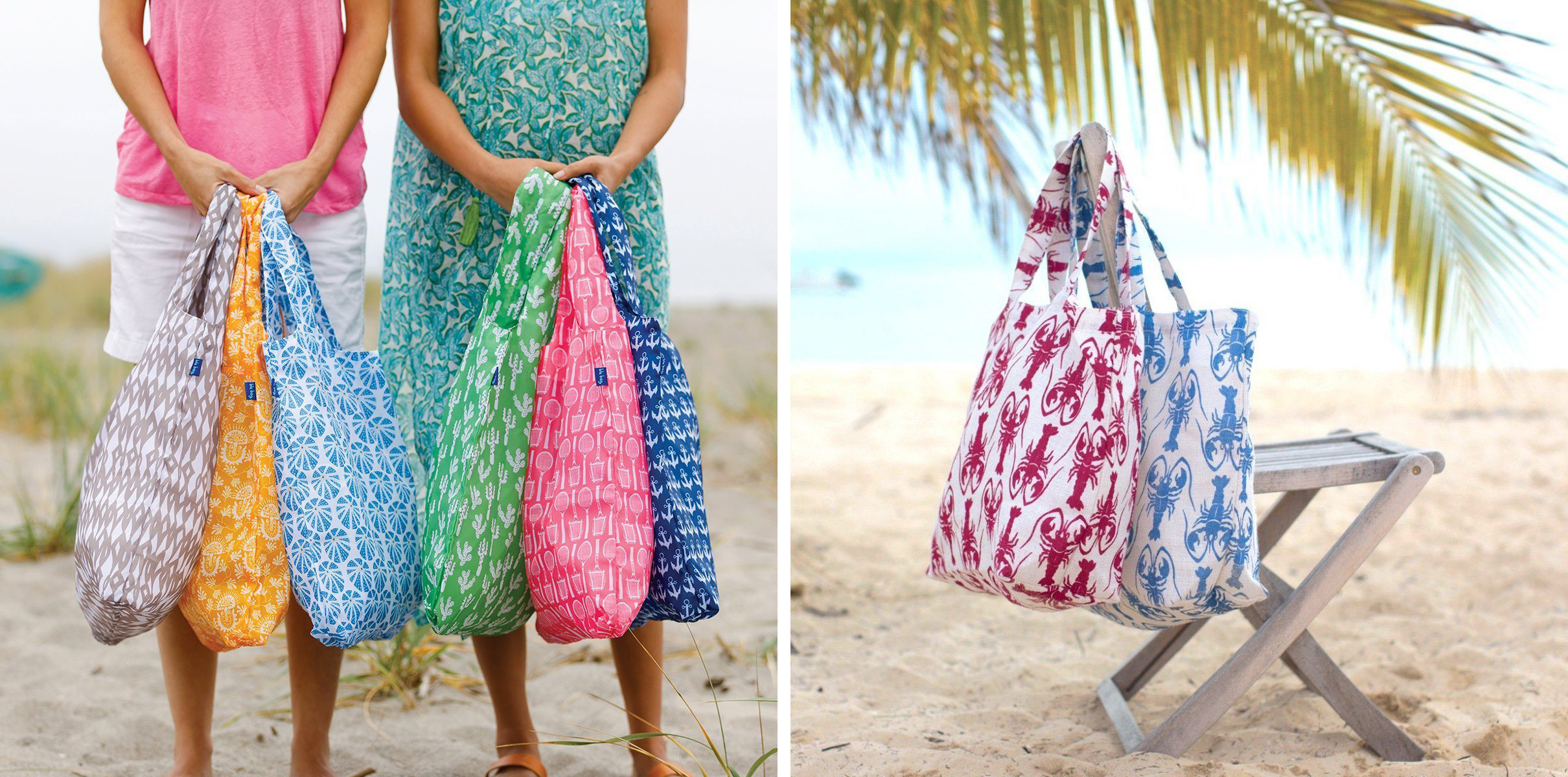 2 women holding a colorful assortment of reusable shopping bags on the beach, and 2 jute tote bags on a chair