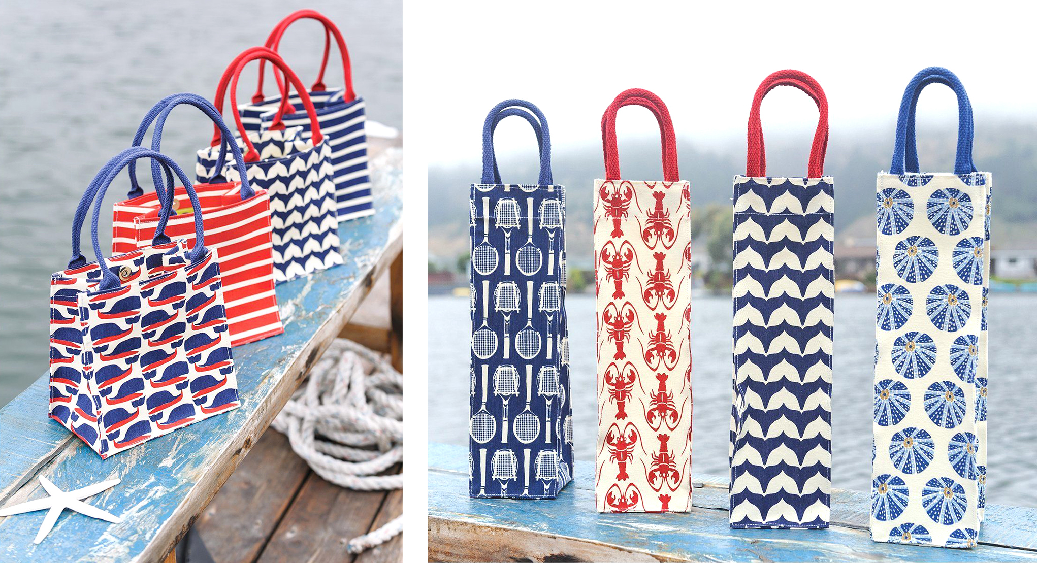 canvas gift bags and wine gift bags in red, white, and blue, with prints such as whales, stripes, lobsters, vintage tennis rackets, and sea urchins