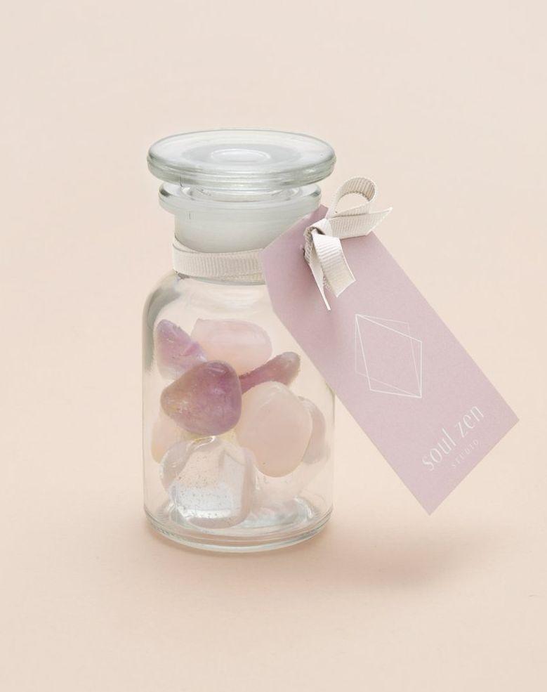 Edelsteinmischung mit Amethyst, Bergkristall und Rosenquarz