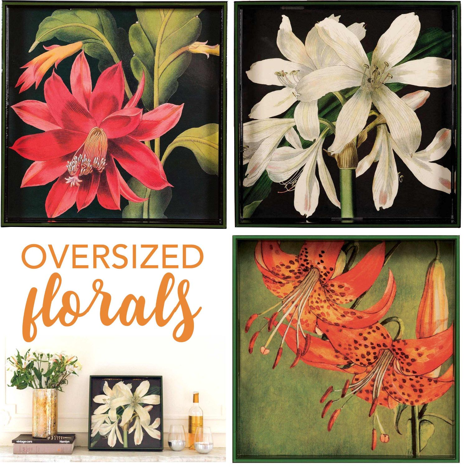 lacquer serving trays with big, colorful flowers