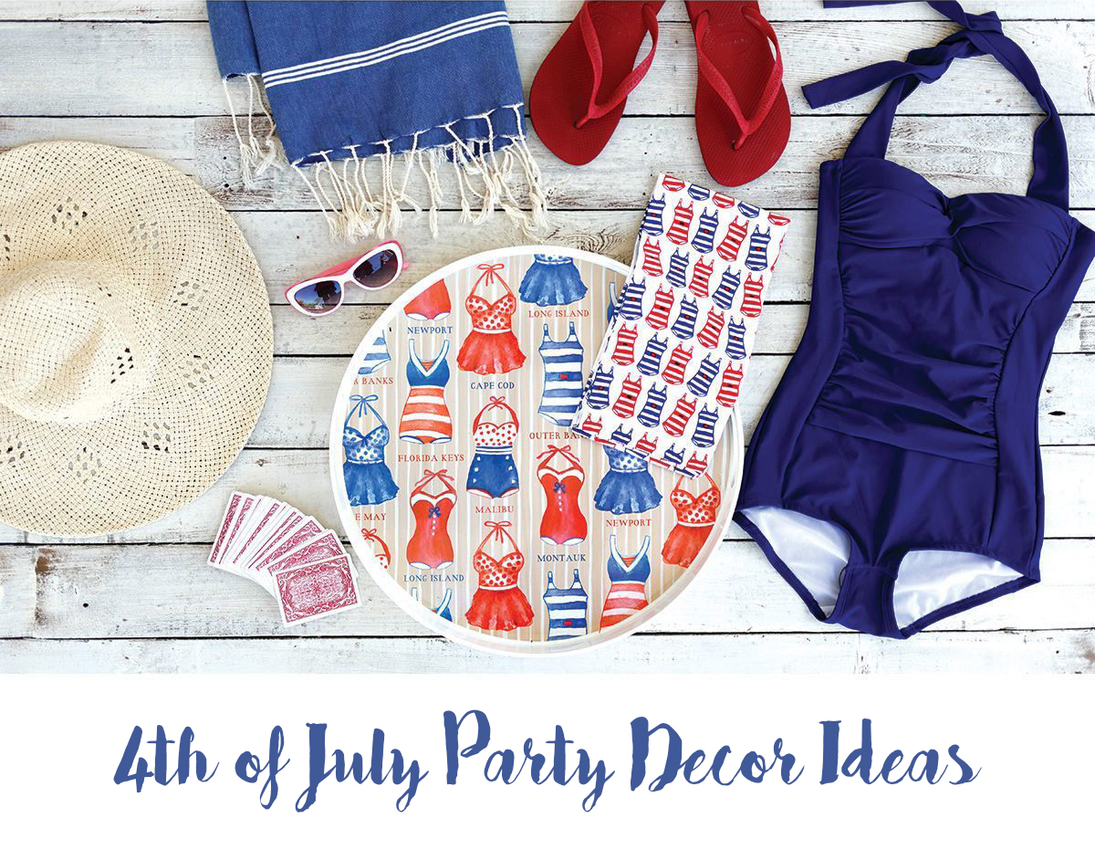 red white blue 4th of July party decor ideas flatlay - bathing suit, serving tray, kitchen towel, beach accessories