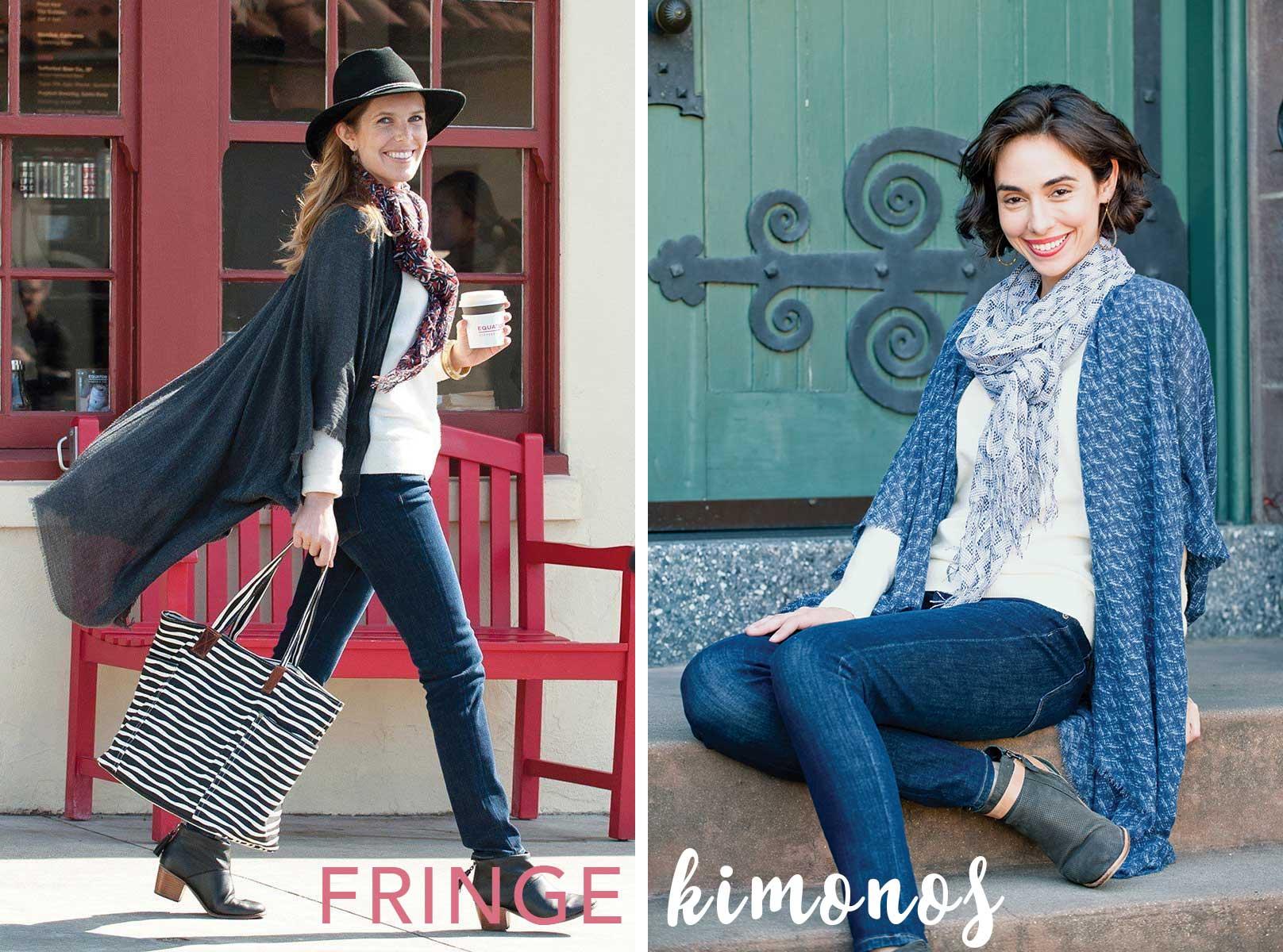 fall fringe kimono wrap for women