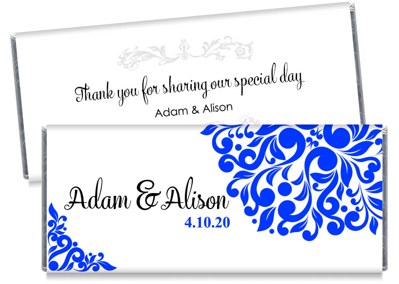 Blue Wedding Candy Bar Wrappers