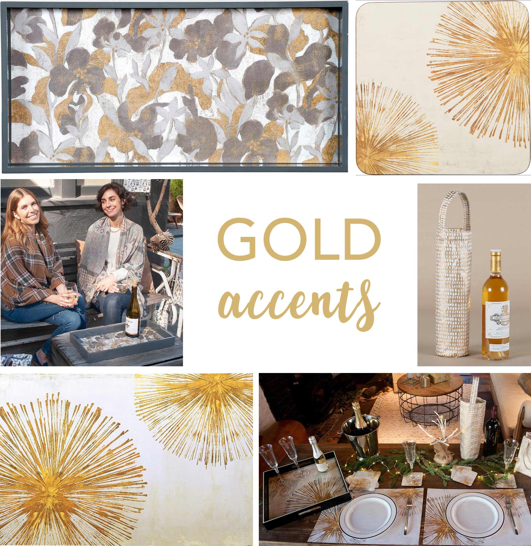 home decor collage with gold lacquer trays, coasters, and wine gift bags