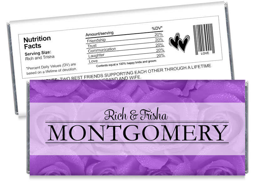 Purple Wedding Candy Bar Wrappers
