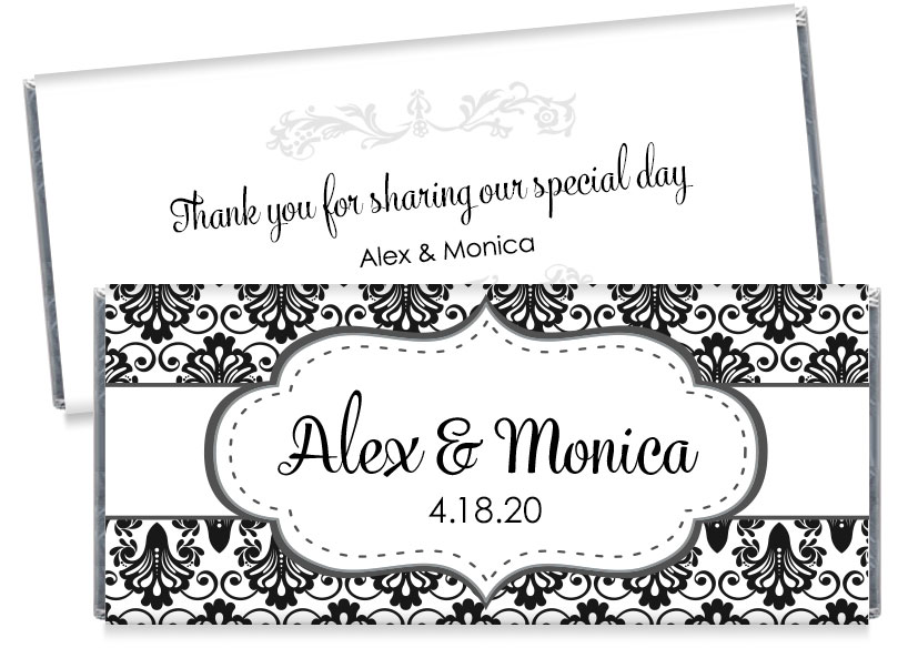Black and White Wedding Candy Bar Wrappers