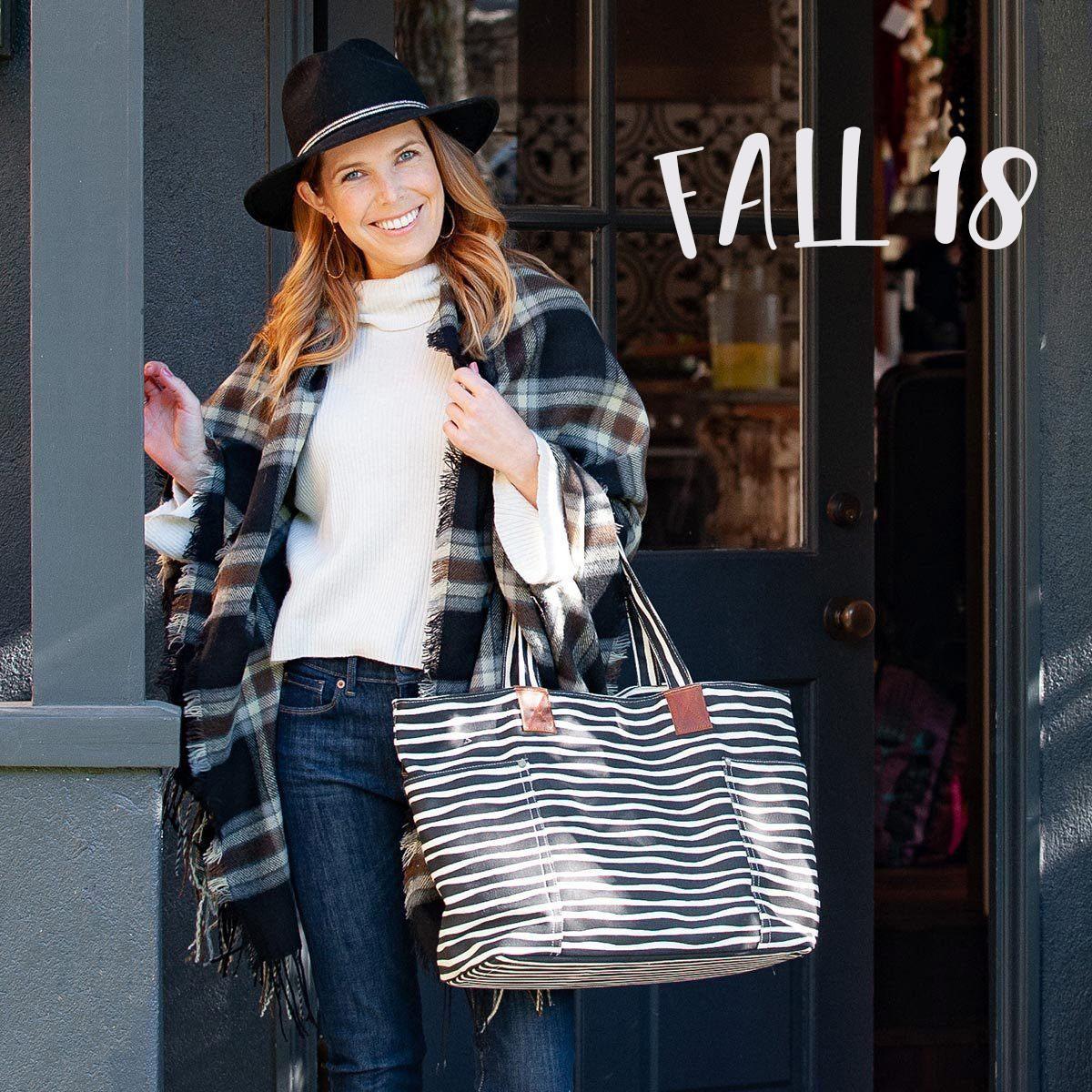 women's fall fashion plaid scarf striped tote bag