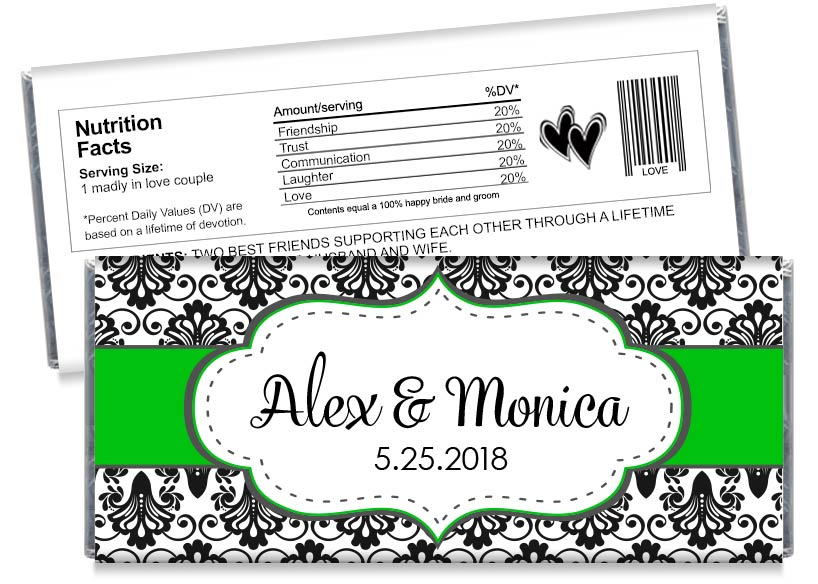 Green Wedding Candy Bar Wrappers
